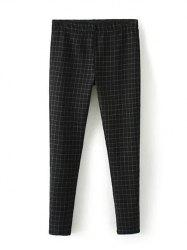 Plus Size Plaid Skinny Pants - BLACK 4XL