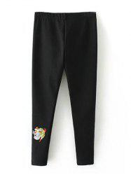 Plus Size Embroidered Skinny Pants - BLACK 4XL