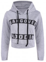 Graphic Print Pullover Cropped Hoodie -