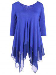 Asymmetrical V Neck Chiffon Panel T-Shirt