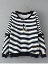 Plus Size Drop Shoulder Stripe Sweatshirt