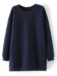 Plus Size Crew Neck Pullover Sweatshirt - PURPLISH BLUE