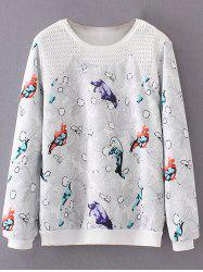 Plus Size Bird Floral Print Sweatshirt -