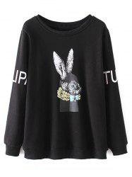 Plus Size Crew Neck Rabbit Print Sweatshirt