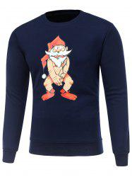 Crew Neck Long Sleeve Bare Father Christmas Print Sweatshirt - CADETBLUE M