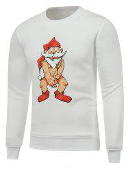 Crew Neck Long Sleeve Bare Father Christmas Print Sweatshirt - WHITE 3XL