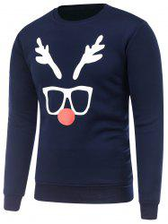 Crew Neck Long Sleeve Christmas Deer Horn Print Sweatshirt - CADETBLUE