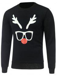 Crew Neck Long Sleeve Christmas Deer Horn Print Sweatshirt -