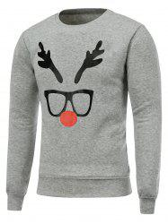 Crew Neck Long Sleeve Christmas Deer Horn Print Sweatshirt - GRAY
