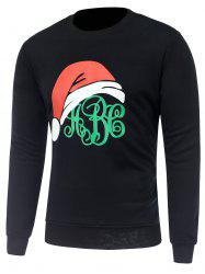 Crew Neck Long Sleeve Christmas Hat Print Sweatshirt - BLACK 3XL