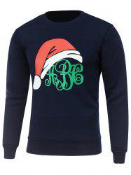 Crew Neck Long Sleeve Christmas Hat Print Sweatshirt