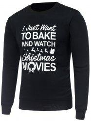 Crew Neck Long Sleeve Christmas Graphic Print Sweatshirt - BLACK L
