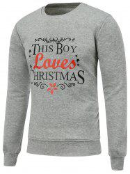 Crew Neck Long Sleeve Christmas Graphic Sweatshirt - GRAY M