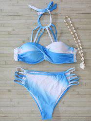 Color Block Halter Cut Out Bikini Set -