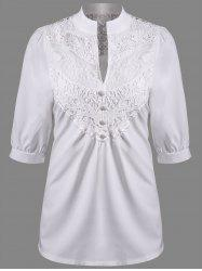 V Neck Lace Panel Blouse -