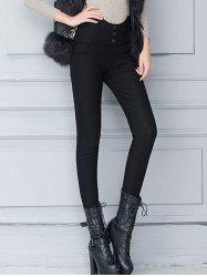 Buttoned High Waist Pencil Skinny Leg Work Pants