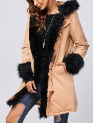 Faux Fur Hooded Parka Long Winter Jacket - KHAKI