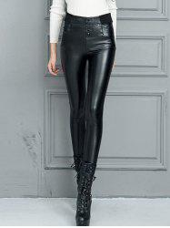 Faux Leather High Waisted Skinny Pants - BLACK 2XL