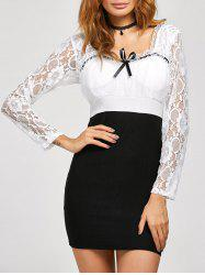 Lace Insert Backless Bodycon Dress - BLACK M