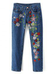 Embroidered Cigarette Jeans - DENIM BLUE