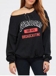 Skew Neck Letter Print Lace-Up Sweatshirt -
