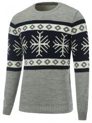 Snowflake Crew Neck Christmas Sweater - GRAY XL