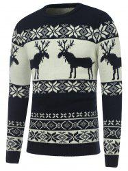 Crew Neck Reindeer Snowflake Christmas Sweater