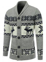 Button Front Reindeer Snowflake Christmas Cardigan - GRAY