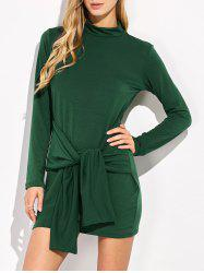 Mock Neck Mini Long Sleeve Dress