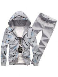 Printed Zip Up Hoodie and Casual Pants Twinset -