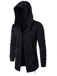 Cloak Hooded Waist Open Front Hoodie - BLACK