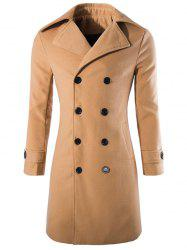 Button Tab Cuff Wool Blend Pea Coat