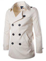 Back Vent Epaulet Design Belted Trench Coat -