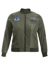 Badge Conception Zip Up Bomber Jacket