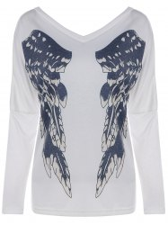Wings Printing V Neck Long Sleeve Tee