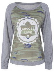 Camouflage Print Raglan Sleeve Floral Tee - CAMOUFLAGE COLOR XL