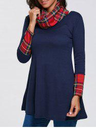 Plaid Insert Slimming Tunic Tee with Neckerchief