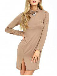 Cowl Neck Slit Slimming Long Sleeve Day Dress