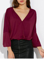 V Neck Dolman Sleeve Wrap Tee
