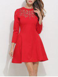 Openwork Long Sleeve Fit and Flare Skater Dress -