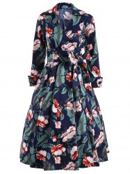 Vintage Tie Belt Printed Surplice Dress - CADETBLUE 2XL