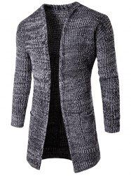 Pocket Flat Knitted Open Front Cardigan - LIGHT GRAY
