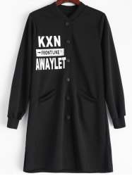 Letter Graphic Button Up Longline Coat -