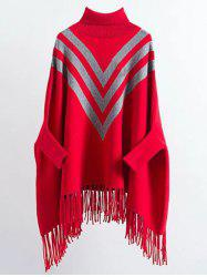 Turtleneck Oversized Fringed Batwing Long Sweater