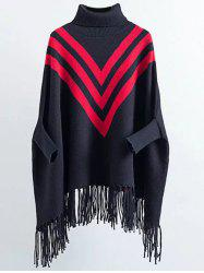Turtleneck Oversized Fringed Batwing Sweater