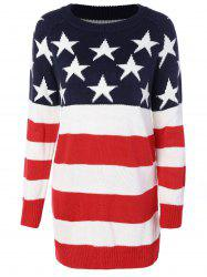 Flag Patterned Crew Neck Sweater Tunique - Rouge et blanc et bleu M