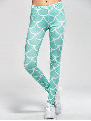 Fish Scale Print Mermaid Leggings - LIGHT GREEN