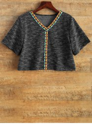 Space Dyed V Neck Cropped T-Shirt