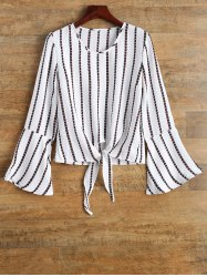 Bell Sleeve Tied Striped Top -