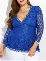 Wave Hem Plunging Lace Blouse